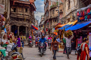 People walking in the streets in Nepal